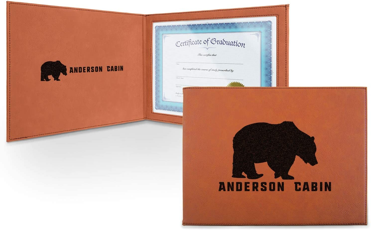 Cabin Leatherette Certificate Holder - Excellence Persona Inside and Front Max 53% OFF