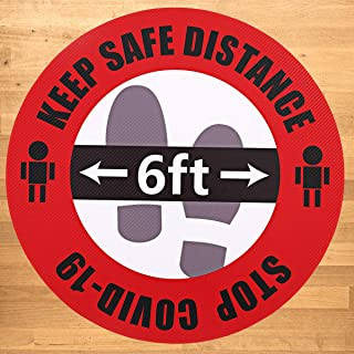 """Social Distancing Floor Decals Sign Stickers 5 Pack 11"""" Round Large Safety Sign 6 Foot Distance Anti-Slip Commercial Grade..."""