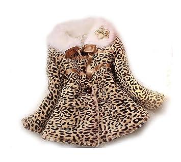 2-3y SOPO Toddler Girls Leopard Faux Fur Coat Winter Jacket /& Handbag