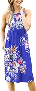 Bulawoo Women Racerback Sleeveless Casual Floral Print Boho Tank Midi Dress