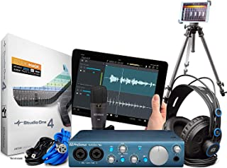Presonus AudioBox iTwo Studio Audio Interface Full Studio Bundle w/Recording Software for Mac, Windows and iPad, Headphones, Microphone w/Cable and a Universal Tripod with iPad Mounting Solution