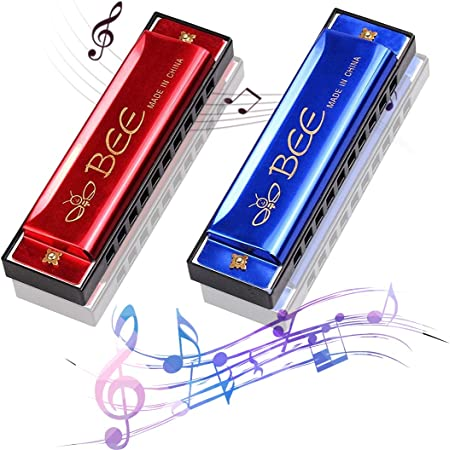 2 Pièces Harmonica en do majeur,Harmonica Enfant,Harmonica,pour Débutants,Enfants, Étudiants, Adultes, Comme Meilleur Cadeau (A)