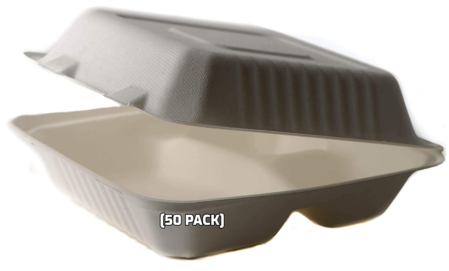 [50 Pack] 8 Inch 3-Compartment Compostable Hinged Take Out Food