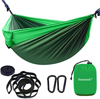 Double Hammocks,Camping Hammock with 2 Tree Straps and 2 Carabiners, Lightweight Nylon Parachute Portable Outdoor Hammock for Backpacking,Beach,Hiking,Garden,Easy Assembly Travel Hammock