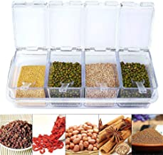 Clear Seasoning Box - 4 Piece Clear Spice Box Storage Container,band Cover and Spoon