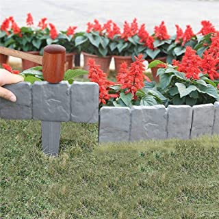 Garden Plastic Fence Edging - 10pcs Imitation Stone Fence Gardening DIY Decorative Garden Landscape Cobbled Stone Lawn Yar...