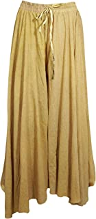 Womens Maxi Long Skirt Beige Floral Printed Bohemian Flare Gypsy Skirt ML