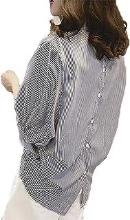 J.STORE [ジェイストア] バックボタンストライプ レディース シャツ襟 パフスリーブ バックボタンストライプブラウス