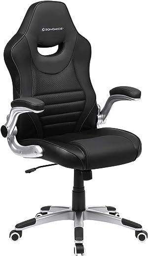SONGMICS Bürostuhl, ergonomischer Drehstuhl, Gamingstuhl mit hochklappbaren Armlehnen, Computerstuhl, Nylon-Sternfuß, max. statische Belastbarkeit…