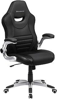SONGMICS Bürostuhl, ergonomischer Drehstuhl, Gamingstuhl mit hochklappbaren Armlehnen, Computerstuhl, Nylon-Sternfuß, max....