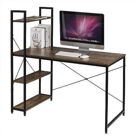 EUGAD Escritorio de Ordenador con 3 Estantes Escritorio para Computadora Mesa de Oficina Mesa para PC Mesa de Trabajo con Estantes Metal+MDF ...