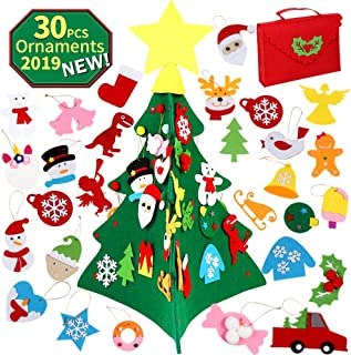 OurWarm 3D DIY Felt Christmas Tree Set with 30pcs Felt Ornaments, 2.23ft Christmas Tree with Gift Bag Storage for Kids Xmas Gifts Christmas Holiday Decorations