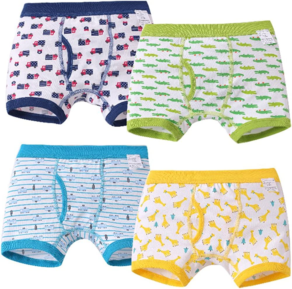 Tortor 1Bacha Toddler Little Kid Boys' 4 Pack Print Cotton Boxer Brief