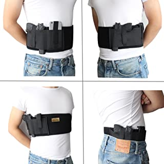 Neoprene Belly Band Holster Concealed Carry with Magazine Pocket/Pouch & 2 Elastic Straps for Women Men Fits Glock, Ruger LCP, M&P Shield, Sig Sauer, Ruger, Kahr, Beretta, 1911, etc