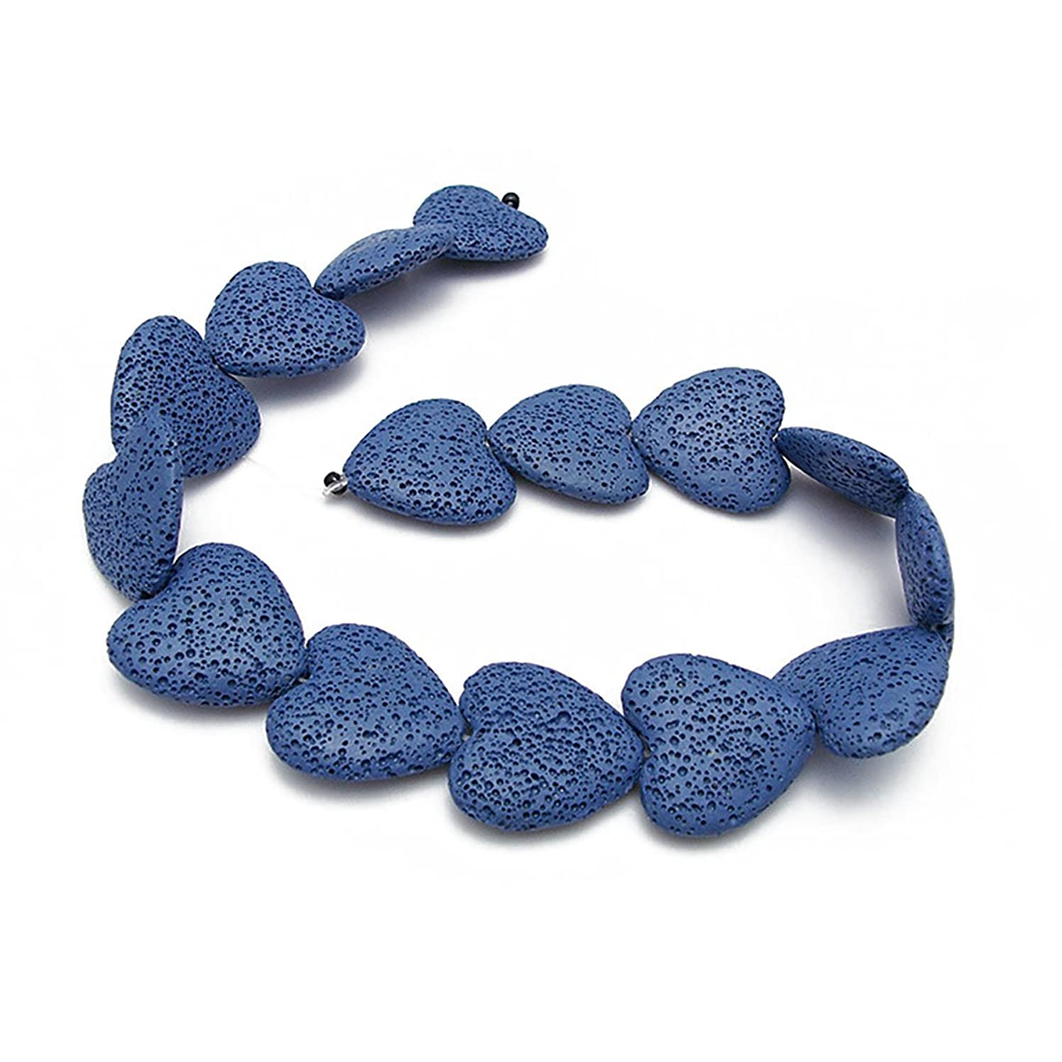 Heart-Shaped Colored Lava Stone Beads Loose Beads Rock Beads Volcanic Gemstone for Earrings Bracelet Necklace Jewelry Making (Deep Blue, Large)