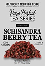 Schisandra Berry Tea - Pure Herbal Tea Series by Palm Beach Medicinal Herbs (15 Tea Bags) 100% Natural