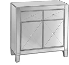 Mirage Mirrored Cabinet - Sliding Drawers w/ Faux Crystal Knobs - Glam Style