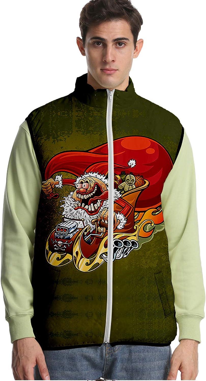 URVIP Unisex 3D Printed Christmas Down Puffer Vest Sleeveless Jacket Outwear