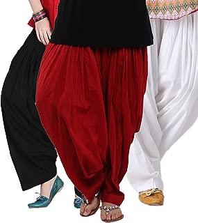 Combo Stylish Women's Cotton Solid Semi Patiala Salwar Dupatta Suit 3 Pcs