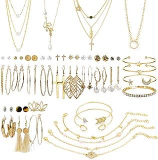 گوشواره های طلای طلای AROIC 38 عدد با 4 عدد گردنبند ، دستبند 10 عدد ، گوشواره های گل میخ حلقه ای آویز دار