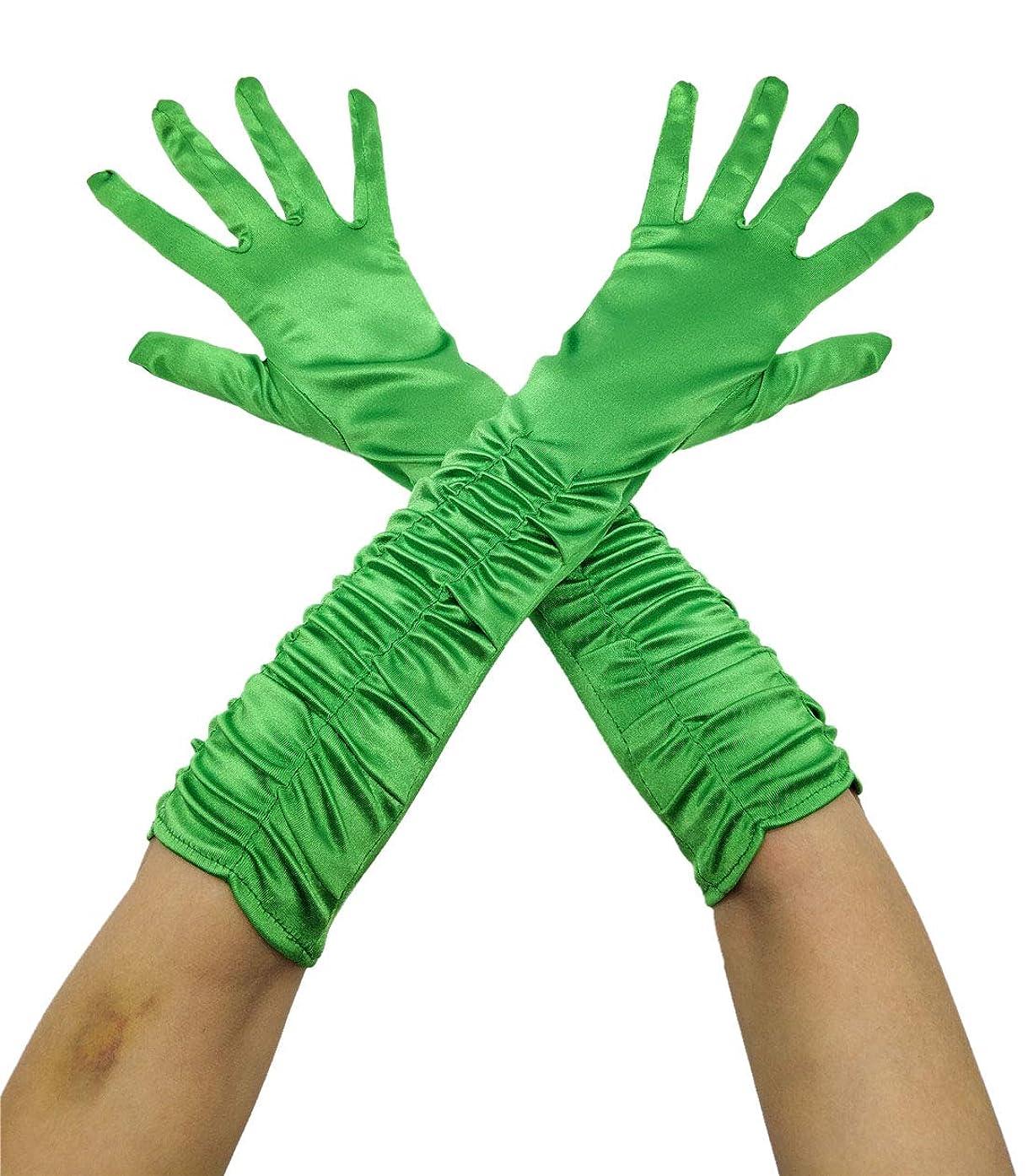 Women bowknot Gloves Elastic Elbow Satin full Finger tea party wedding Bridal