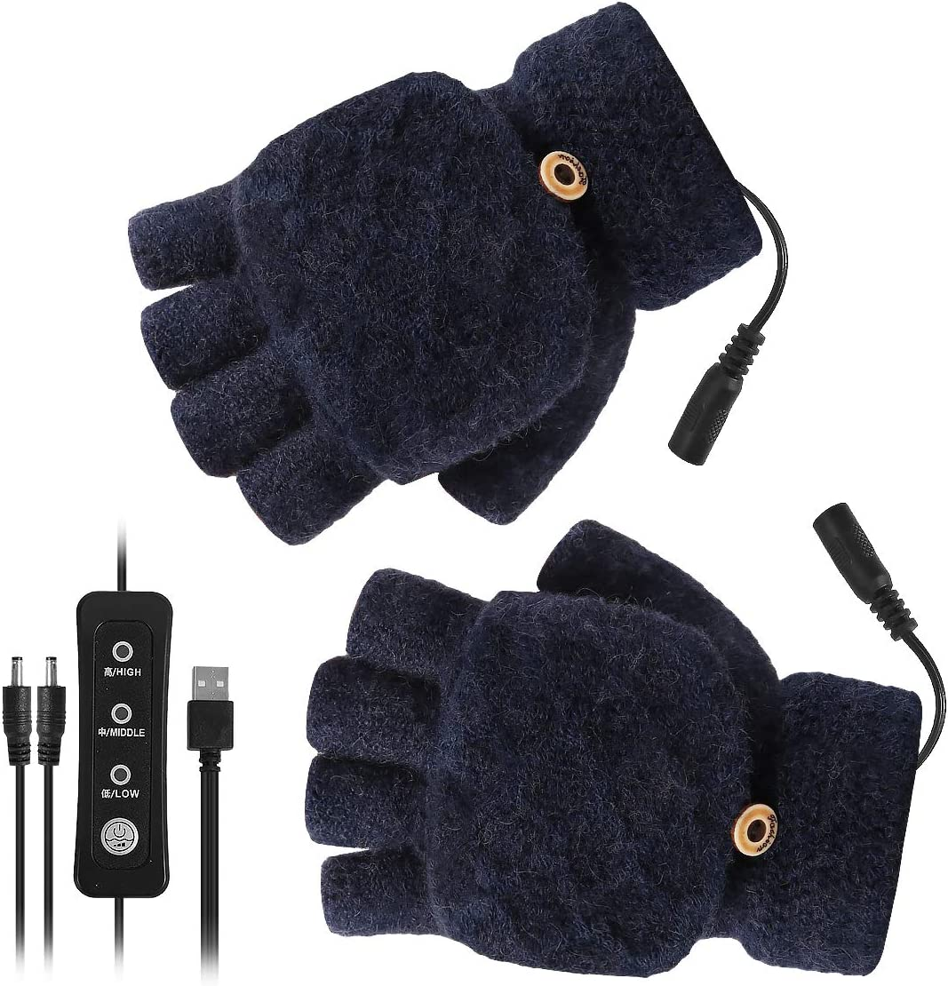 YINUODAY USB Heated Gloves, Unisex Mitten Winter Hands Warm Laptop Gloves with 3 Temperature Levels, Knitting Heating Hands Full & Half Fingerless for Women Men - Washable