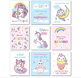 Avamie 9 Pieces Unicorn Inspirational Wall Art Prints, 8x10 inch Unicorn Rainbow Inspirational Quotes and Motivational Wal...