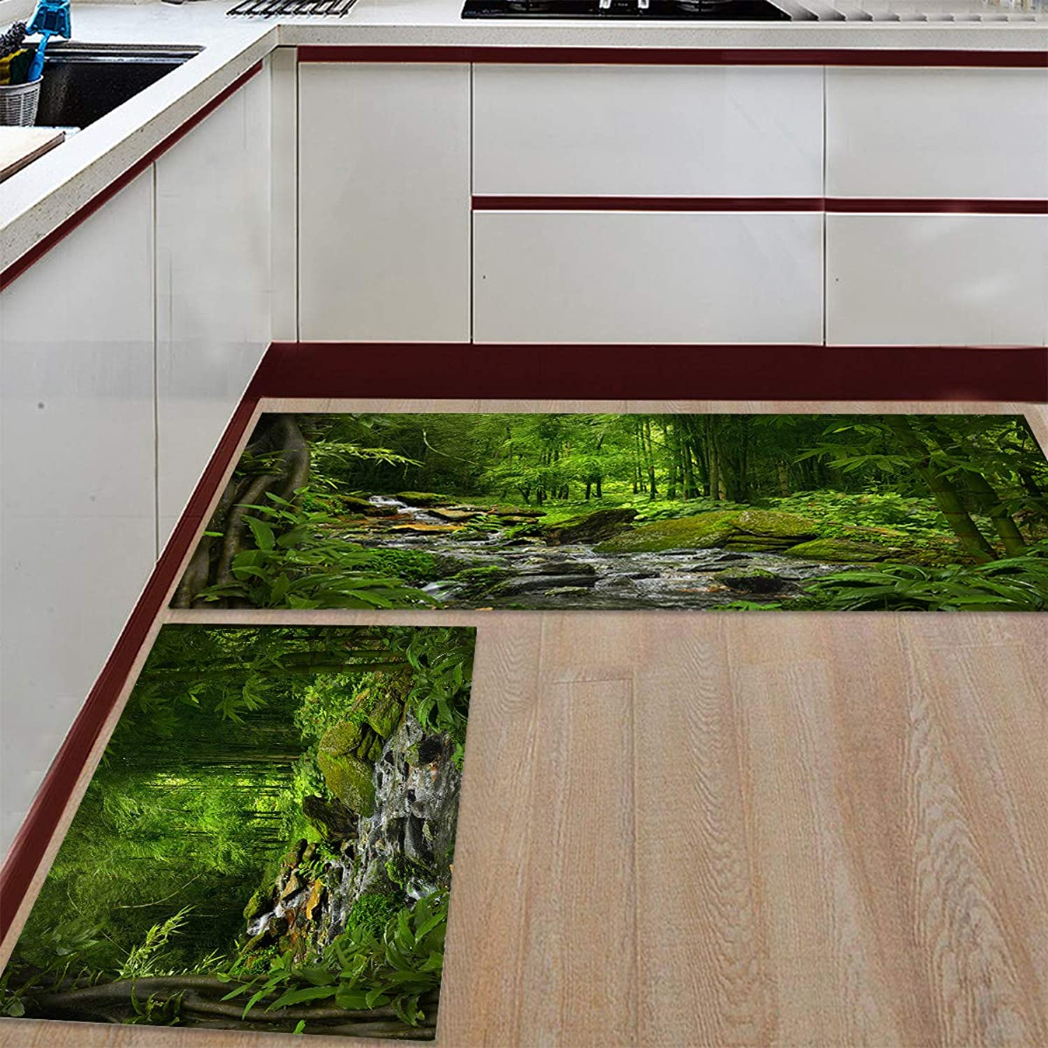 Kitchen Rugs Sets 2 Piece Floor Mats Bamboo Forest Rainforest Vivifying Stream Doormat Non-Slip Rubber Backing Area Rugs Washable Carpet Inside Door Mat Pad Sets (23.6  x 35.4 +23.6  x 70.9 )