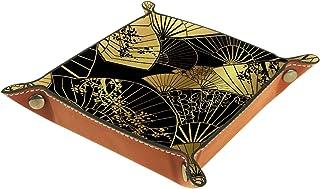 Vockgeng Eventail Pliant doré Boîte de Rangement Panier Organisateur de Bureau Plateau décoratif approprié pour Bureau à D...