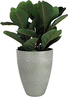 LA JOLIE MUSE Tall Planter - 14.2 Inch Large Indoor & Outdoor Tree Planter, Plant Pot Containers, Gray, Honeycomb