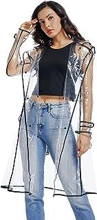 UNIQUEBELLA Waterproof Raincoat Lightweight Packable Raincoat Transparent Rain Ponchos Rainwear Women