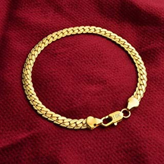 SOSUO Cuban Link Chain Bracelet, 18k Gold Plated Italian 5mm Curb Bangle for Men Women