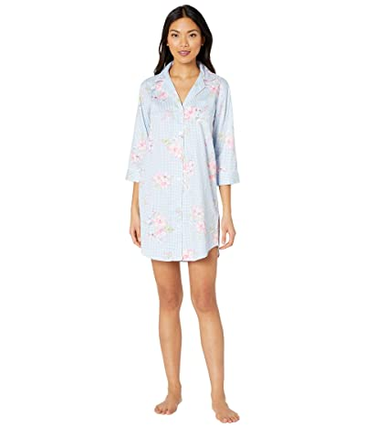LAUREN Ralph Lauren Classic Wovens 3/4 Sleeve Pointed Notch Collar Sleepshirt (Blue Check) Women