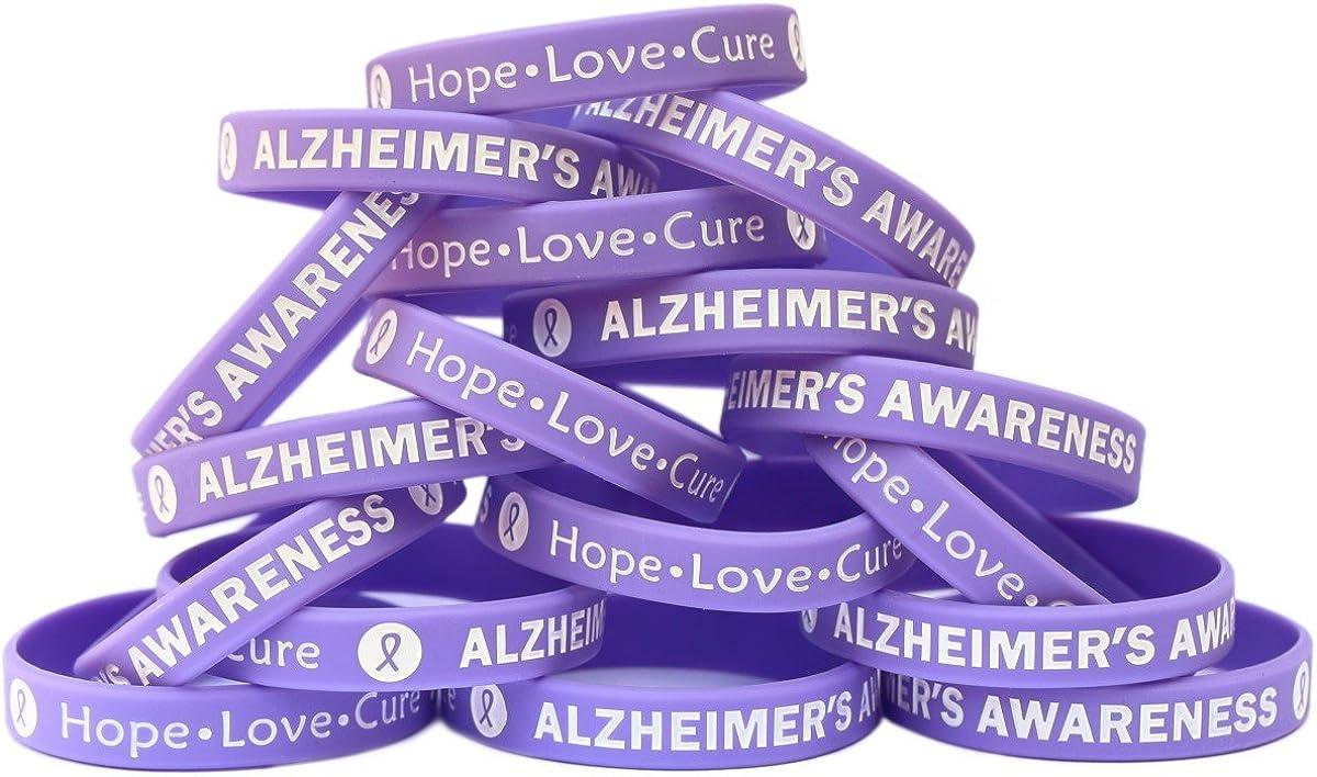 SayitBands Alternative dealer 100 Alzheimer's Awareness It is very popular Silicone Bracelet Wristband