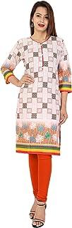 METRO-FASHION Women's Cotton Printed Straight Casual Kurta. (Medium, Multicolor)