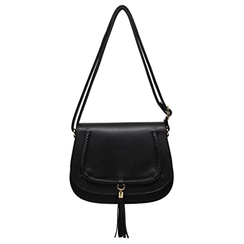CRAZYCHIC - Women s Fringes Tassel Saddle Bag - Rigid Faux Genuine Leather  Crossbody Bag - Lady 22f4816db03c2