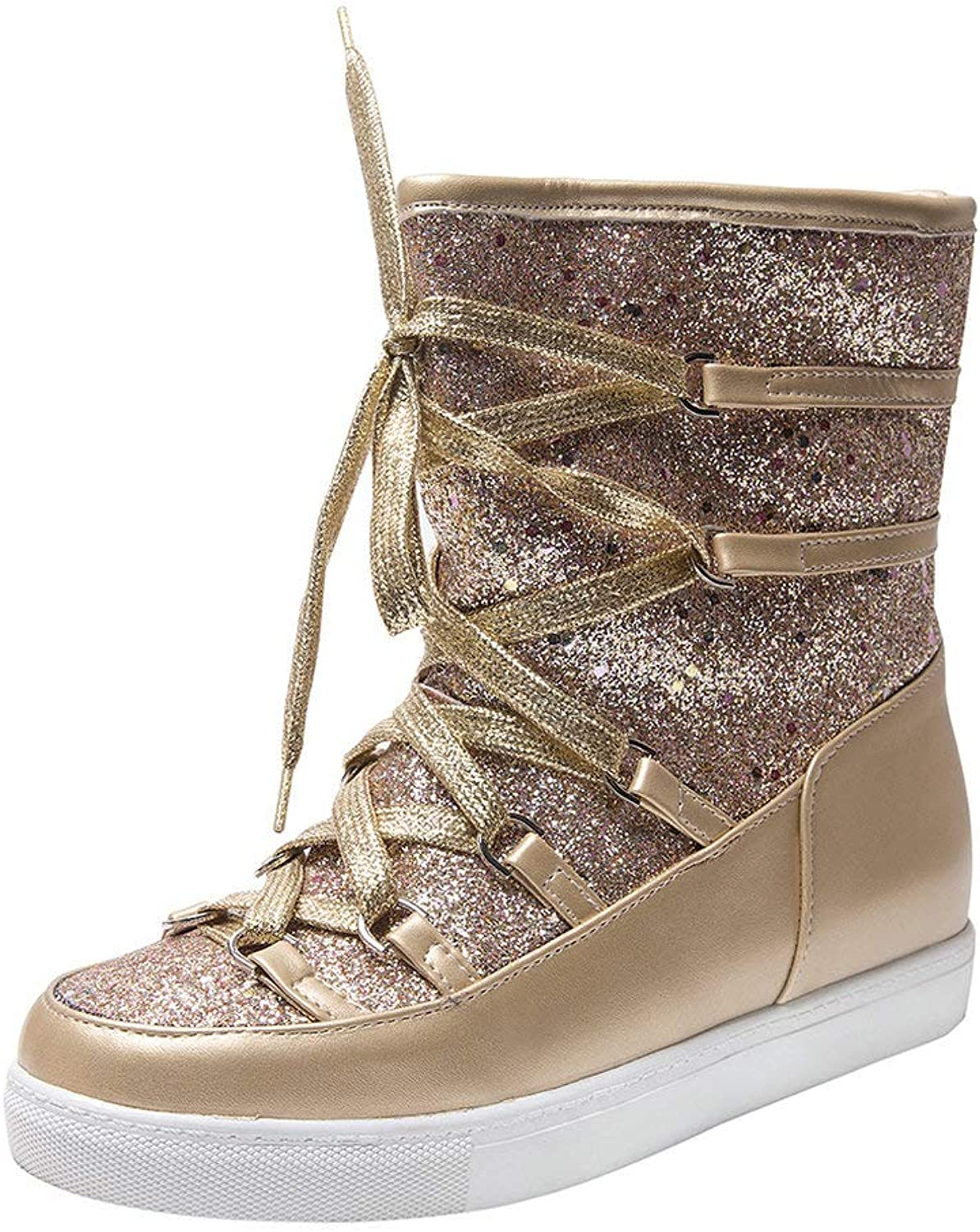 AnMengXinLing Glitter Snow Boot Women Fur Lined Strappy Ankle Cross Strap Waterproof Winter Wedge Short Booties Round Toe gold Silver