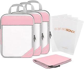 Gonex Compression Packing Cubes Set, Travel Suitcase Luggage Organizer 3pcs+ Shoe Bag+ 4 Zip Bags, Pink (Pink) - Gonex-GXGN0109C