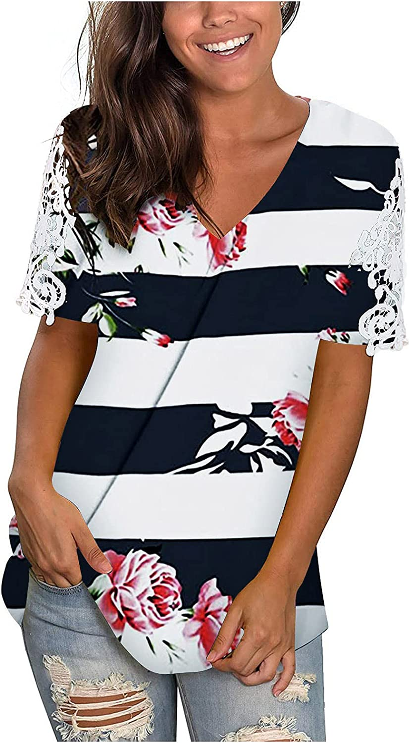 siilsaa Women's Summer Tops, Women's Casual Floral V-Neck Short Sleeve T-Shirts Plus Size Tops Blouse Basic Tunic Tee