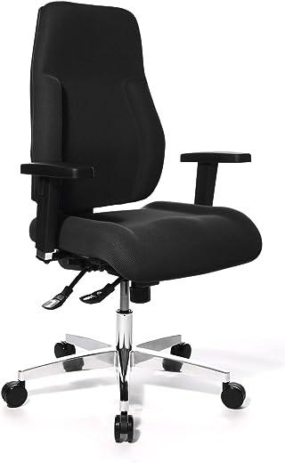 Topstar PI99GBC0 P91, Bürostuhl, Schreibtischstuhl, breiter Muldensitz, inkl. höhenverstellbare Armlehnen, Konturpolsterung, Bezug schwarz