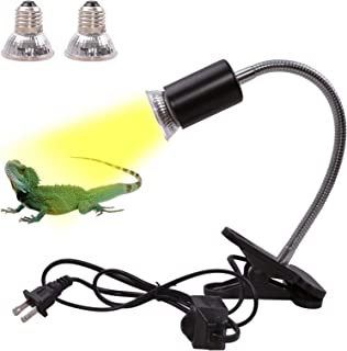 Yardeen Reptile Aquarium Heat Lamp Basking Spot Lamp with Holder 2 50W+75W UVA UVB Bulb for Lizard Turtle Snake Amphibian ...