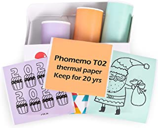 Phomemo T02 Mint Green/Lavender Purple/Light Orange, Adhesive Thermal Paper, Sticker Paper Printer Paper, 50mmx3.5mm,Black...