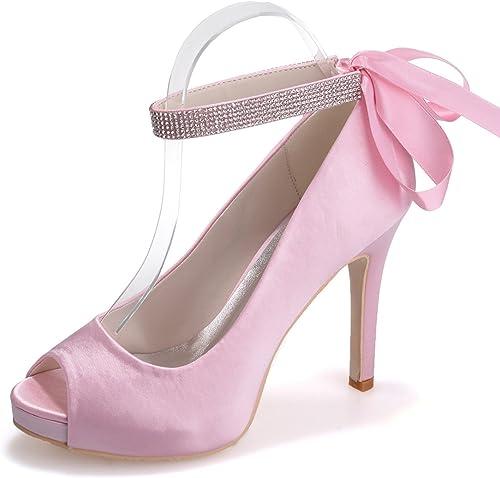 Elobaby schuhe De Boda De Las damenes Rhinestones De La Cinta Peep Toe Prom Größe S-6041-04   Satin Größe Party