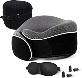 Modern Travel Pillow Premium Memory Foam | Neck Comfort and Support | Fitted Eye Mask and Noise Blocking Ear Buds Bundle by Earth Essentials