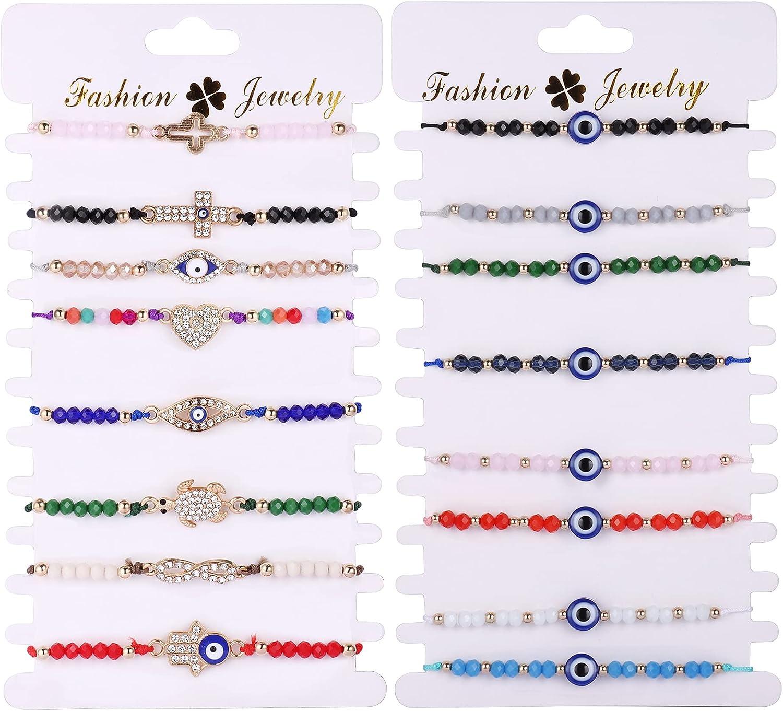 Thunaraz 16 Pcs Evil Eye Bracelet Handmade Braided Rope Red Evil Eye Bracelet for Women Men Buckle Cross Heart Turtle Boho Good Luck Amulet Bangle Knot Bracelet