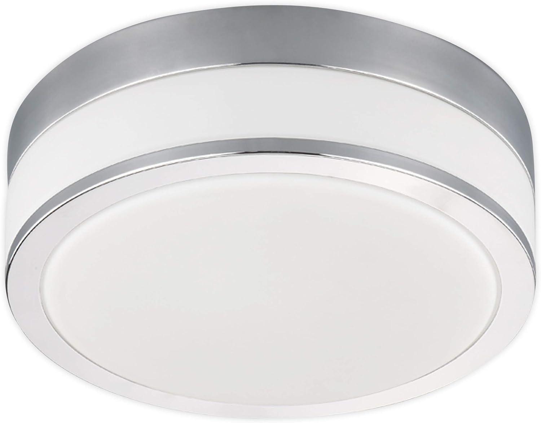 Lampenwelt Deckenlampe 'Flavi' (spritzwassergeschützt) (Modern) in Wei aus Glas u.a. für Badezimmer (2 flammig, E27, A+, inkl. Leuchtmittel) - Bad Deckenleuchte, Lampe, Badezimmerleuchte