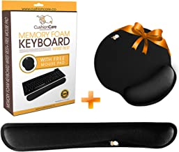CushionCare Keyboard Wrist Rest Pad - Full Ergonomic Mouse Pad with Wrist Support Gel Included for Set - Memory Foam Cushion - Prevent Carpal Tunnel & RSI When Typing on Computer, Mac & Laptop