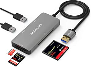 SD Card Reader, AUDIANO USB 3.0 Card Reader for Micro SD/SDXC/CF/SD/SDHC/MS/XD/T-Flash/MMC Camera Memory Card, 5 in 1 USB 3.0 Hub with Flash Memory Card Reader and 2 USB 3.0 Ports for Mac OS,Windows