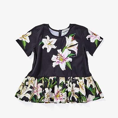 Dolce & Gabbana Kids Lily Print Jersey and Poplin T-Shirt (Toddler/Little Kids) (Gigli Nero) Girl