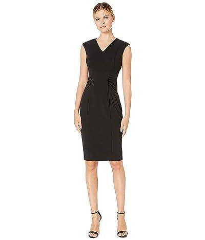 Calvin Klein V-Neck Dress with Side Waist Ruching (Black) Women